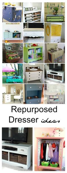 Repurposed Furniture | Have an old dresser? Check out all the fun ways to repurpose and recycle it to give it a new life! So many great ideas!