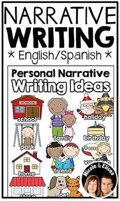 Personal Narrative Writing Pack in English & Spanish (example writing ideas sheet) Narrative Writing Kindergarten, Personal Narrative Writing, First Grade Writing, Personal Narratives, Writing Workshop, Teaching Writing, Literacy, Writing Strategies, Writing Lessons