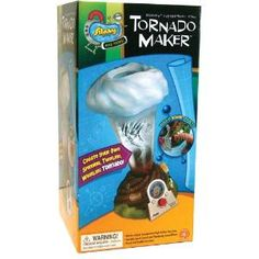 Tornado Maker - See a tornado form right before your eyes! Has built in lightning and thunder sounds! Create your own spinning, twirling, whirling tornado with the Tornado Maker kit! Look into the eye of the storm using the Bird's Eye View! See through the viewing window in the top of the storm cloud! Just fill the storm chamber with water and turn the power dial to watch your liquid tornado form in front of your eyes!