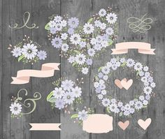 Floral clipart set blue pastel wedding invitation by BouncyBulldog
