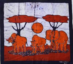 """Harmony at Dawn"" - African batik Batik Art, Hand Art, Southeast Asia, Dawn, Moose Art, African, Tapestry, Fair Trade, Painting"