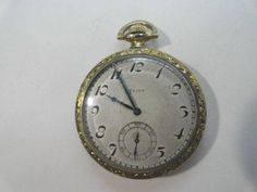 Antique 1919 Elgin 7 Jewel Pocket Watch Gold Filled Case 12 Size 44mm Running by KayesVintageJewelry on Etsy