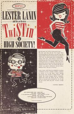 'Twistin' a fictional póster designed and illustrated by me based on a Lester Lanin record I found. more at: http://facebook.com/mr.mooree