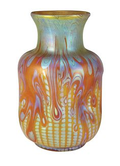 a gorgeous Loetz vase with very busy decoration of drips and zippers