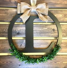 "Boxwood Wreath, Monogram Wreath, Letter Wreath, Faux Boxwood Wreath, 14"" Wooden…"