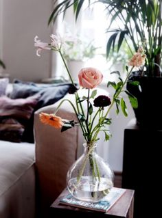 "This pretty vase with fresh flowers is from our feature ""Canal Chic"" Decor, Fresh Flowers, Home Decor, Vase, Glass Vase, Glass"