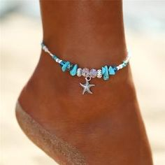 3pc Lux Accessories Goldtone Tropical Nautical Palm Tree Anchor Anklet Set