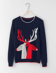 Reindeer Sweater WV130 Knitted Sweaters at Boden