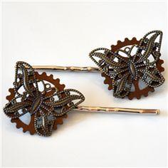 Steampunk Butterfly & Gear Bobby Pins
