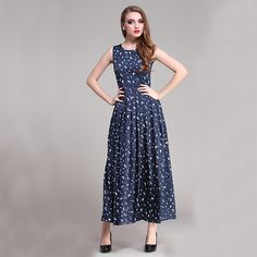 Find More Information about 2015 Summer Women Blue Print Chiffon Sleeveless Slim Elegant Formal Long Full Dresses Plus Size Europe And America,High Quality dress row,China women red dress Suppliers, Cheap women linen dress from June Day on Aliexpress.com