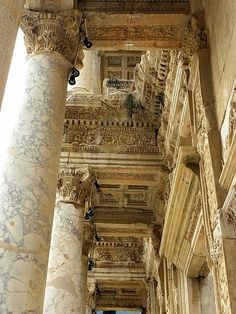 Inside Library of Celsus at Ephesus.The Library of Celsus is a Roman mausoleum and library built in the early 2nd century AD. As one of the most beautifully reconstructed buildings in Ephesus, it has become an icon of the ancient city.