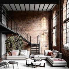 [New] The 10 Best Home Decor Ideas Today (with Pictures) - Our hearts beat for Milan! Love this refurbished loft featuring a sectional by Design by Via Industrial Interior Design, Industrial House, Industrial Living Rooms, Industrial Loft Apartment, Exposed Brick Apartment, Exposed Brick Bedroom, Modern Loft Apartment, Industrial Style Bedroom, Warehouse Apartment