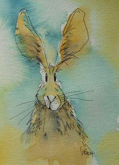 Parsley the Hare  original watercolour by HaresAndHerdwicks