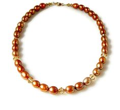 Bridal Necklace Copper Pearl Necklace Light Brown by MsBsDesigns, $86.00