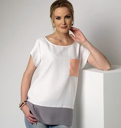 Tunic sewing pattern from Butterick has sleeve and hemline variations. Relaxed fit. B6214, Misses' Top