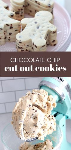 chocolate chip cut out cookie dough Chocolate Chip Cut Out Cookie Recipe, Roll Out Sugar Cookies, Sugar Cookies Recipe, Yummy Cookies, Chocolate Recipes, Cookie Cutout Recipe, Just Desserts, Dessert Recipes, Delicious Cookie Recipes