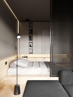 Minimalist Studio Apartment, Minimalist Bedroom, Modern Minimalist, Small Apartment Layout, Small Apartments, Modern Small Apartment Design, Modern Spaces, Loft Spaces, Living Spaces