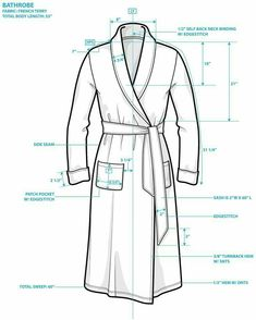 The Spinsterhood Diaries: Tee Shirt Week - Bathrobe Tech Pack Source by Flat Drawings, Flat Sketches, Technical Drawings, Fashion Design Template, Fashion Templates, Fashion Portfolio, Fashion Flats, Fashion Sketches, Dressmaking