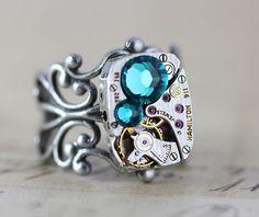 Steampunk Ring Blue Zircon Swarovski Crystals.