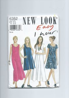 Vintage New Look 6352 Misses' Easy One Hour Dress (1995) by lavenderskye on Etsy