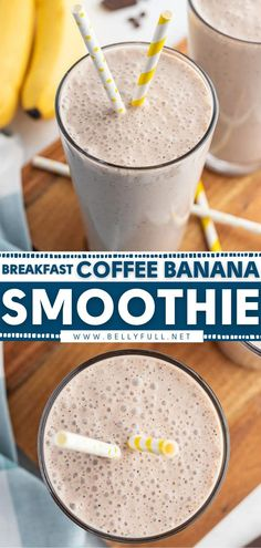 Now you can get fiber, protein, and caffeine all in one drink idea for breakfast! Combined with vanilla yogurt, honey, milk, and coffee, this easy banana smoothie recipe gives you a good energy boost… Easy Healthy Smoothie Recipes, Easy Drink Recipes, Delicious Breakfast Recipes, Easy Delicious Recipes, Coffee Recipes, Simple Recipes, Coffee Banana Smoothie, Banana Coffee, Banana Dessert
