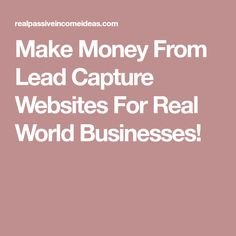 Make Money From Lead Capture Websites For Real World Businesses!