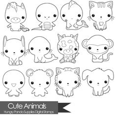 Animal digital stamp, cute animals digital stamps, commercial use, digital stamps, line art