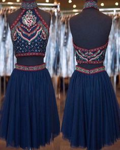 A002 New Arrival Two Piece Navy Short Homecoming Dresses 2017