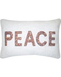 """Threshold Copper Sequin Peace Decorative Pillow 12""""x18"""" -Threshold, Light Off-White from Target   BHG.com Shop"""