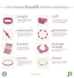 Here we are with a brand new Fashion Vocabulary: this month we are going to talk you about bracelets! Is there any fashion topic that you would like to know more about? Tell us at info it could become the subject of our next vocabulary! Fashion Terminology, Fashion Terms, Fashion 101, Fashion History, Fashion Advice, Fashion Beauty, Vetements Clothing, Illustration Mode, Fashion Vocabulary