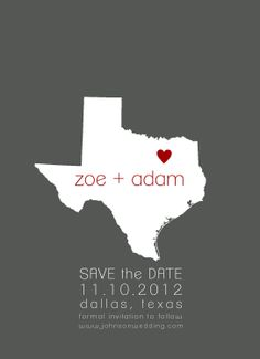 Save the Date Card City and State Heart Digital Printable Design. $10.00, via Etsy.
