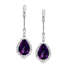 amethyst jewelry  | Dangling Amethyst Earrings - Gemstone Jewelry Image