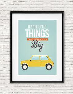 Quote print Typography quote Mini Cooper retro poster by handz