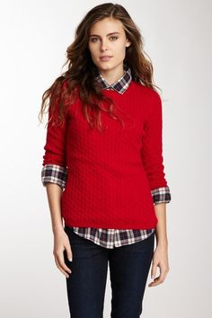In Cashmere Cabled Crew Neck Pullover