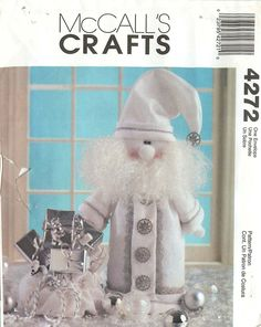 """McCall's Crafts 4272 Sewing Pattern for 20"""" """"Silver and White Santa"""" Decoration by CarlasHope on Etsy"""