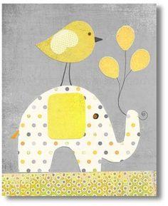 Baby decor nursery, kids art, baby nursery, kids room decor, yellow, gray, kids elephant, Bird Balloons, A Special Day 8x10 print from Paris on Etsy, $14.00