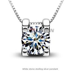 LOHOME® Necklace, Small Silver Plated and Simulated Crystal Heart Pendant Necklace (Cube Shape) - 101 for men Diamond Pendant Necklace, Crystal Pendant, Crystal Necklace, Sterling Silver Necklaces, Silver Jewelry, 925 Silver, Necklace Chain, Necklace Extender, Crystal Jewelry