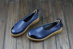 Handmade Women Shoes,Oxford Women Shoes, Flat Shoes, Retro Leather Shoes, Casual Sandals, Slip On