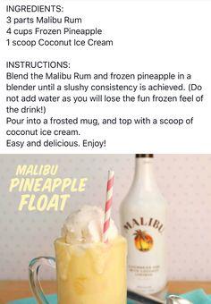 Malibu Pineapple, Malibu Rum, Frozen Pineapple, Coconut Ice Cream, Coconut Rum, Yummy Shots, Cocktail Recipes, Cocktails, Cocktail