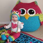 Super cute #crochet Owl outfit and Giant #owl stuffie http://madmadmakers.com/mad-money-giveaway/