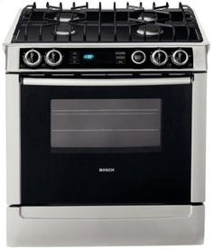 "HDI7052U in Stainless Steel by Bosch in Bridgewater, NJ - 30"" Dual Fuel Slide-in Range 700 Series - Stainless Steel"