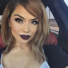 lips in midnight @hotmakeup.usa • Shayla lashes @flutterlashesinc• #iluvsarahii #flutterlashes #hotmakeup