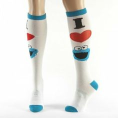 1804faedb I Heart (Love) Cookie Monster Sesame Street Knee High Socks Heart Cookies