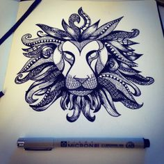 Zentangle. Beautiful This lion has a Madusa sense to it. Likethe hair of the lion could be some type of creatue giving it power or protection. It is very neatly made with the circles and the lines.