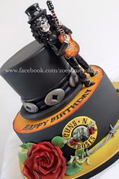 Slash Hat Guns Roses cake by Elizabeth Miles Cake Design Cakes