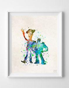 Buzz and Woody Print, Toy Story Watercolor Art, Type 2, Disney Pixar Poster, Dorm Art, Nursery Wall Art, Room Decor, Christmas Gift