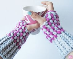 Crochet Puff Stitch Wrist Warmers by Tania | Project | Crochet / Outerwear | Accessories | Gloves & Mittens | Kollabora