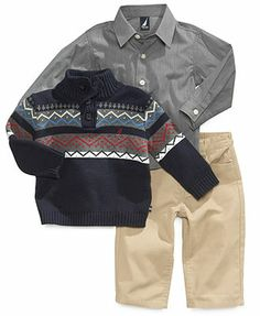 Nautica Baby Set, Baby Boys 3-Piece Sweater, Shirt and Corduroys
