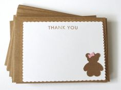 Teddy bear thank you cards Baby shower thank by WildSugarberries, $18.00