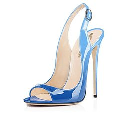 Sky Blue Leather Pumps,Peep Toe ...